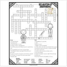 Load image into Gallery viewer, Declaration of Independence Crossword
