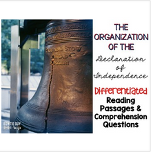 Load image into Gallery viewer, Declaration of Independence Organization Differentiated Passages and Questions