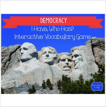 "Load image into Gallery viewer, Democracy Interactive Vocabulary Game ""I Have, Who Has?"" Cards"