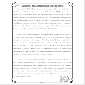 Discovery and Settlement of the New World Differentiated Reading Passages