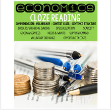 Load image into Gallery viewer, Economics Cloze Reading Activities