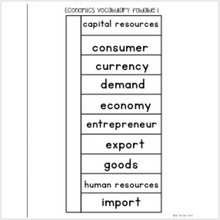 Load image into Gallery viewer, Economics Interactive Vocabulary Sort