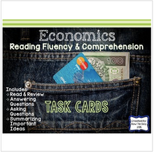Load image into Gallery viewer, Economics Reading Fluency & Comprehension Task Cards