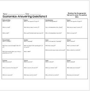 Economics Reading Fluency & Comprehension Task Cards