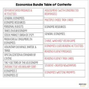 Economics Unit Bundle: Specialization, Trade, Price Incentives, Resources & More