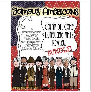Famous Americans Common Core Language Arts Review {BUNDLE!}