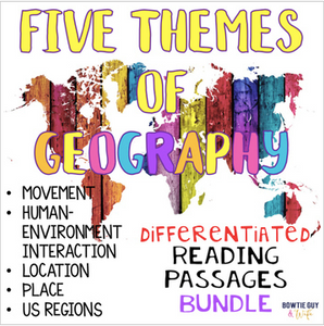 Five Themes of Geography Nonfiction Reading Texts BUNDLE - SOCIAL STUDIES