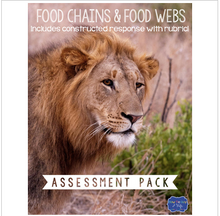 Load image into Gallery viewer, Food Chains and Food Webs Test with Constructed Response Assessment