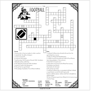 Football Comprehension Crossword
