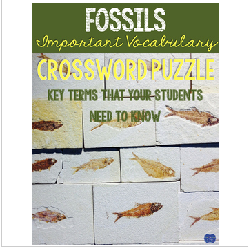Fossils Crossword Comprehension Puzzle