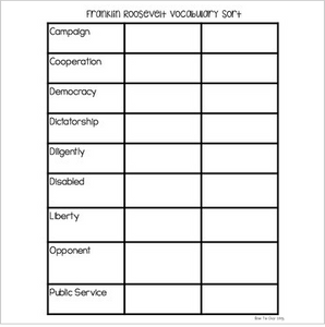 Franklin D. Roosevelt {Interactive Vocabulary Sort}
