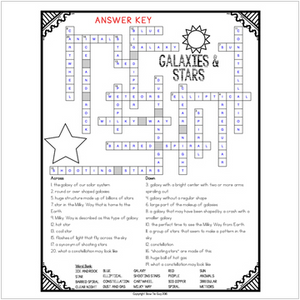 Galaxies and Stars Comprehension Crossword