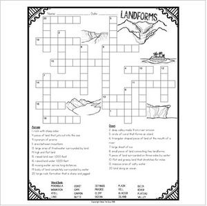 Geographic Landforms Crossword