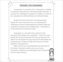 Load image into Gallery viewer, FREEBIE: Character Trait Spotlight~Compassion Differentiated Reading Passages