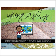 Load image into Gallery viewer, Geography Task Cards (latitude, longitude, map skills, and basic concepts)