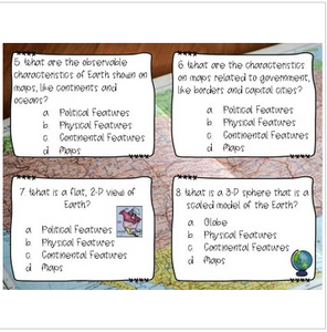 Geography Task Cards (latitude, longitude, map skills, and basic concepts)