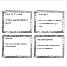 "Load image into Gallery viewer, Geometry Math Vocabulary ""I Have, Who Has?"" Review Game"