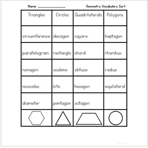 Geometry {Interactive Vocabulary Sort}