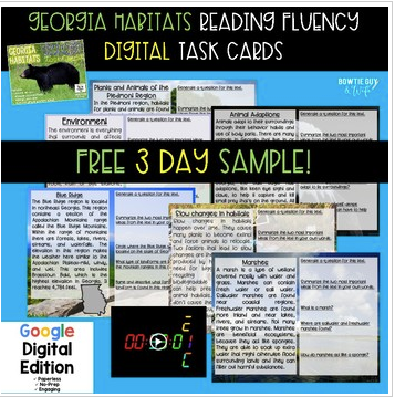 Georgia Habitats Digital Fluency & Comprehension Task Cards FREEBIE