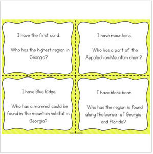 "Georgia Habitats Interactive Vocabulary Game ""I Have, Who Has?"" Cards"