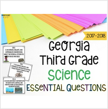 Load image into Gallery viewer, Georgia Science Standards for Third Grade GSE Essential Questions