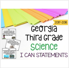Load image into Gallery viewer, Georgia Science Standards for Third Grade GSE I CANs