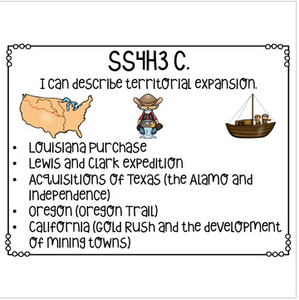 Georgia Social Studies I Can Statements for Fourth Grade Newly Implemented