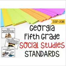 Load image into Gallery viewer, Georgia Social Studies Standards for Fifth Grade Newly Implemented & Revised GSE
