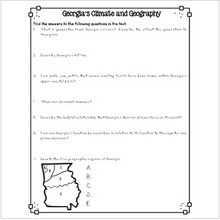 Load image into Gallery viewer, Georgia's Geography and Climate Reading Passages for SS Integration
