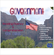 Load image into Gallery viewer, Government Reading Fluency & Comprehension Task Cards