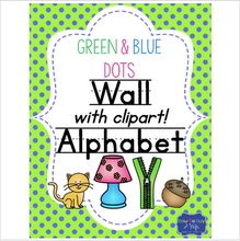 Load image into Gallery viewer, Green and Blue Dots Alphabet cards (Custom Color Requests Available!)