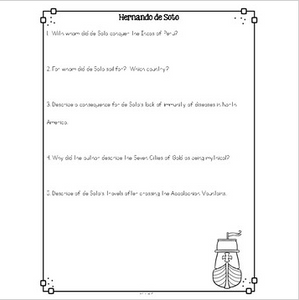 Hernando de Soto Nonfiction Differentiated Reading Passages & Questions