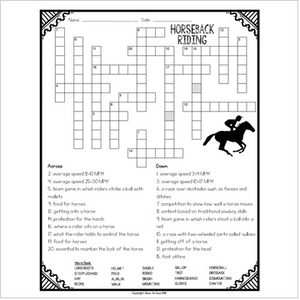 Horseback Riding Comprehension Crossword
