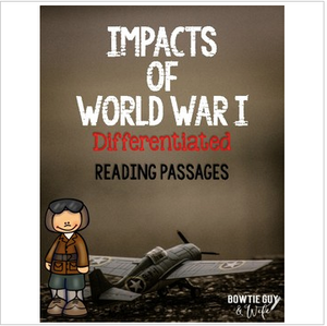 Impact of World War I Differentiated Reading Passages