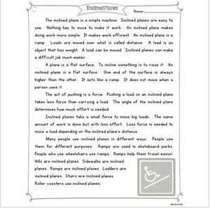 Inclined Plane {Differentiated Close Reading Passages & Questions}