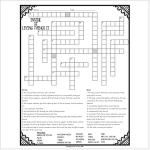 Inside of Living Things Comprehension Crossword Part II