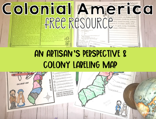 13 Colonies Artisan Perspective of Colonial Life & Map Labeling Activities
