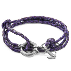 Grape Purple Clyde Silver & Leather Bracelet