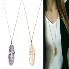 Long Sweater Feather Necklace