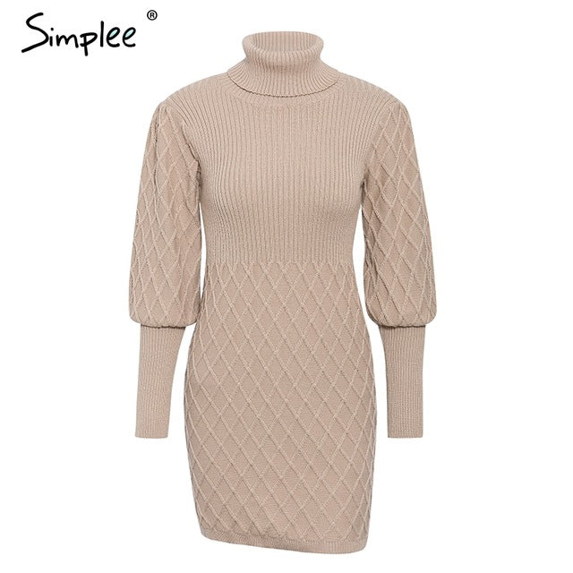 Simplee - Turtleneck long cable knitted pullover sweater dress