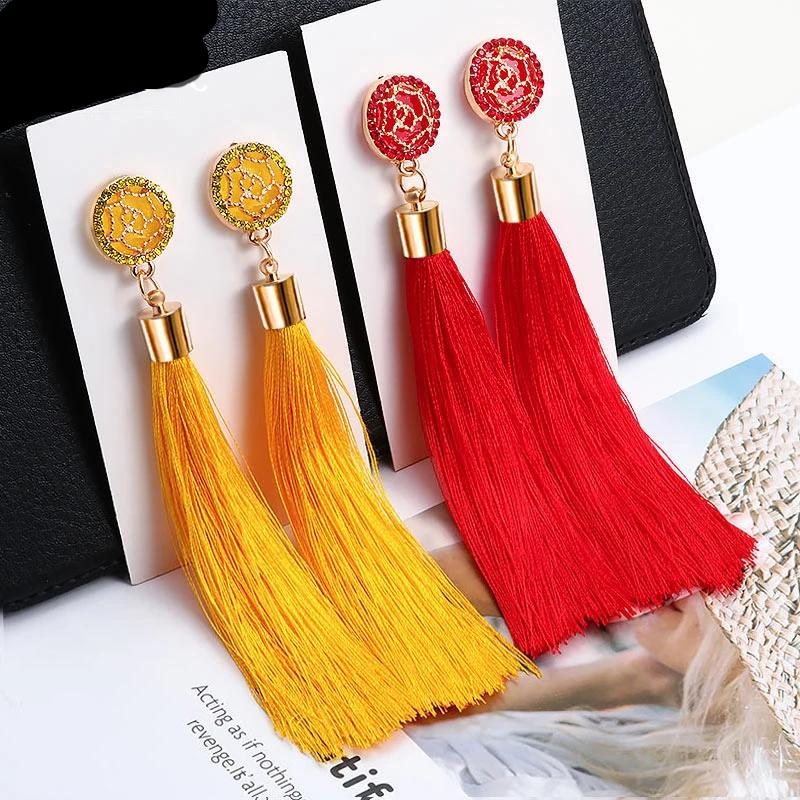 Tassel and Crystal Long Earrings