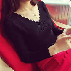 V-neck Long-sleeve Knitted Sweater