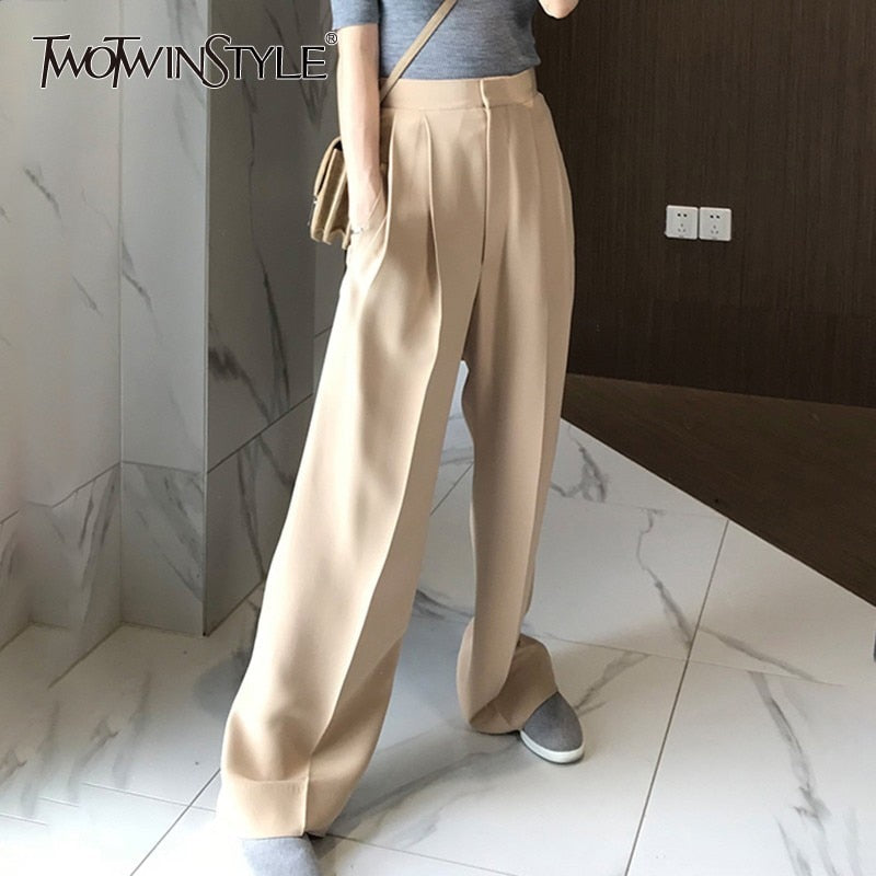 TWOTWINSTYLE - Loose Wide Leg Pants