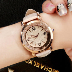 Rhinestone and Leather Bracelet Watch
