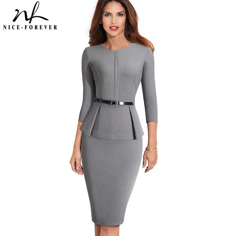 Nice-forever - Wear to Work with Belt Dress