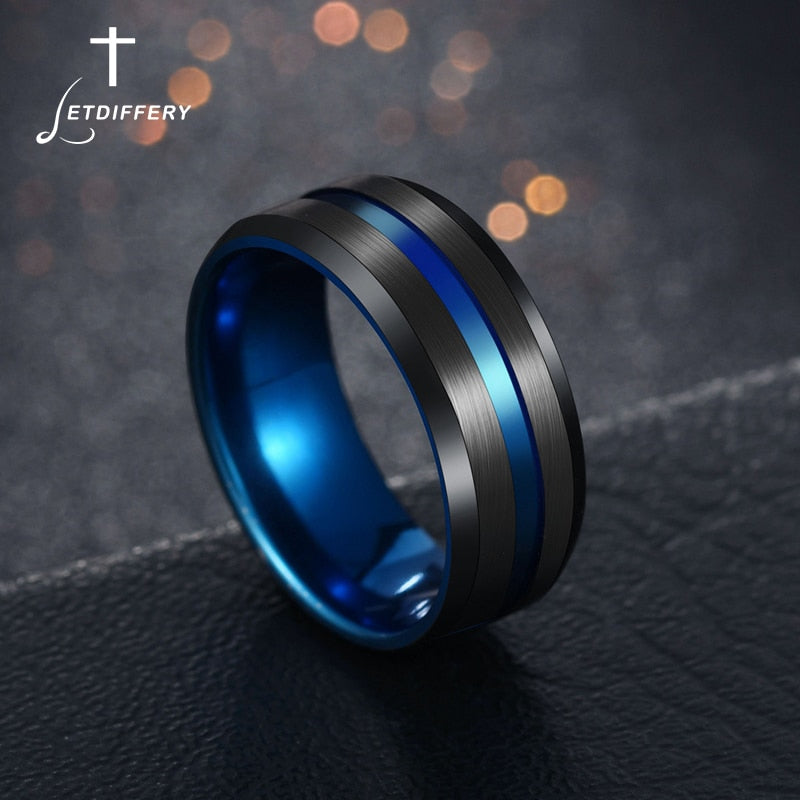 Black/Blu Stainless Steel Midi Rings For Men