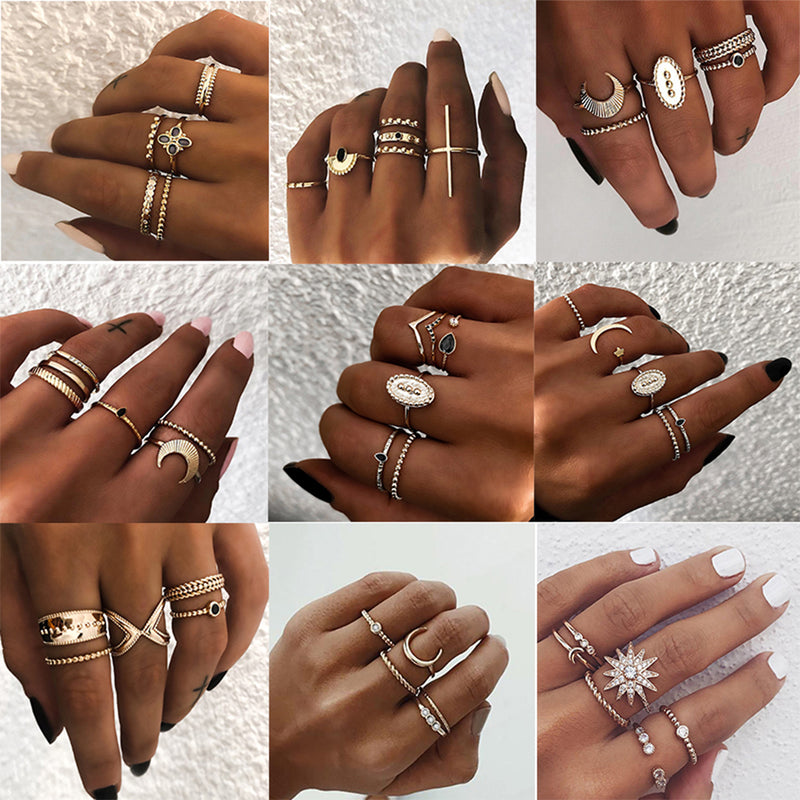 Bohemian Geometric Joint Ring Set