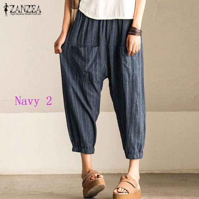 ZANZEA -  Striped Harem Pants