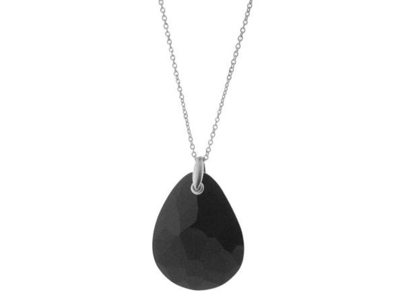 Statement Black Crystal Pendant Necklace