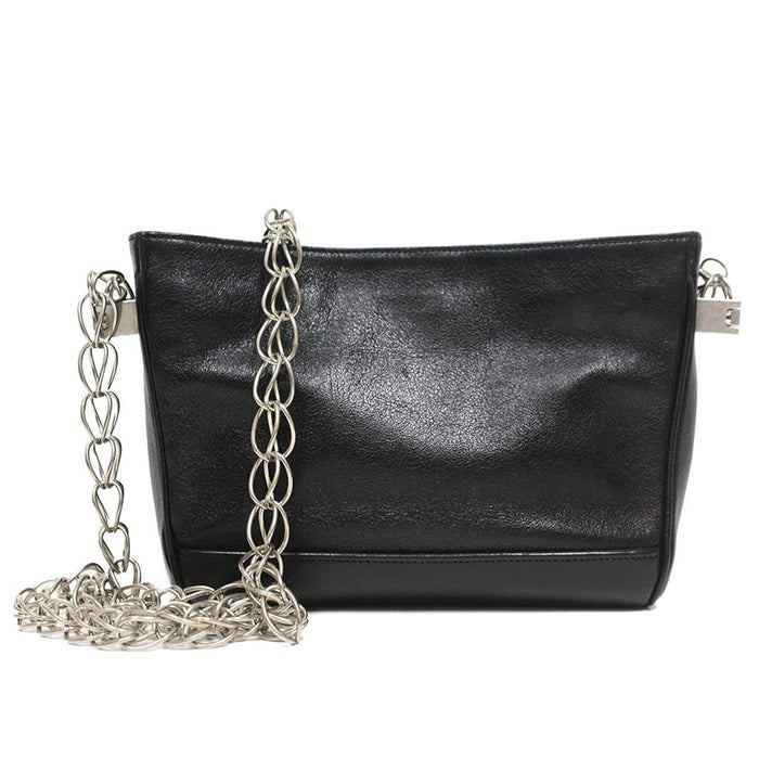 e2e0d4682005 Saint Laurent YSL Small Black Leather Chain Shoulder Handbag 332493
